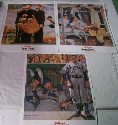 Lot Of Norman Rockwell Baseball Prints By Kellogg's Bran Flakes